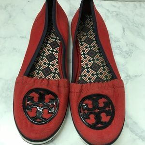 Tory Burch Red Navy Blue Canvas Shoes Size 10 M